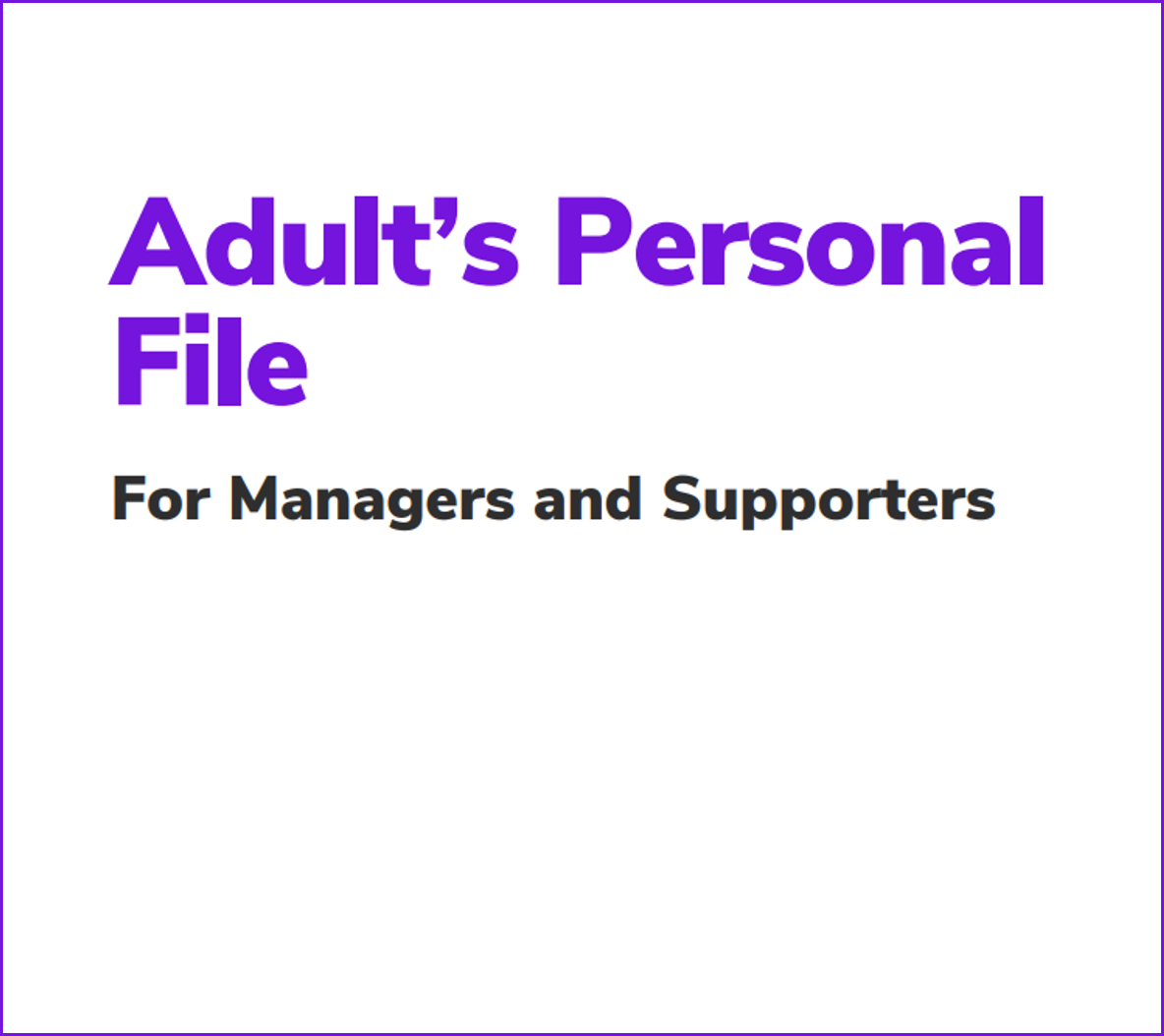 Personal File for Managers