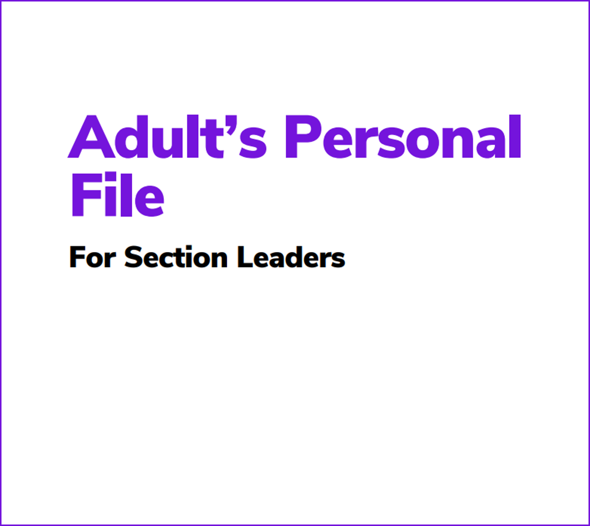Personal File for Leaders