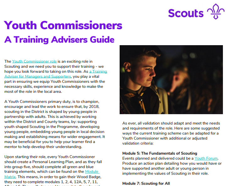 TA guide for Youth Commissioners