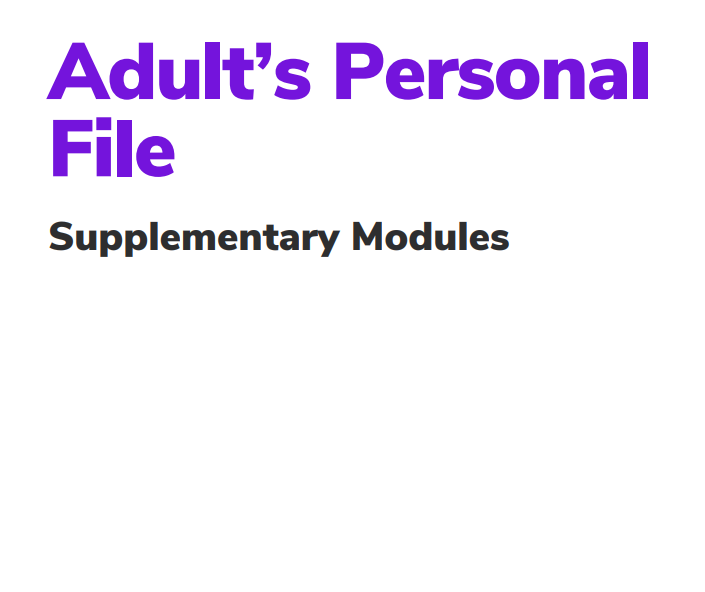 Personal File for Supplementary modules