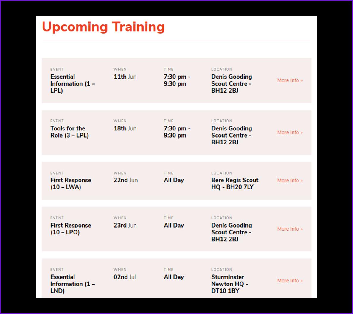 Calendar of Courses